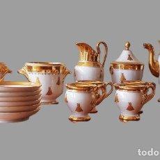 Antigüedades: CONJUNTO DE TÉ O CAFÉ EN PORCELANA SÈRVRES NAPOLEON IMPERIO. SIGLO XIX. FRANCIA. Lote 219164507