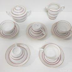Antigüedades: JUEGO CAFÉ ART DECO SANTA CLARA AÑOS 50. Lote 219568347