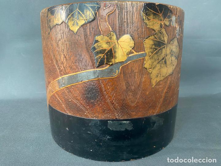 Antigüedades: antique japanese meiji , hibachi brazier , kiri wood , antiguo brasero japonés de 1900 aprox. - Foto 11 - 219621488