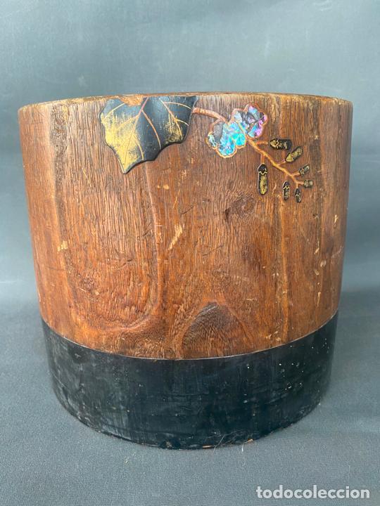 Antigüedades: antique japanese meiji , hibachi brazier , kiri wood , antiguo brasero japonés de 1900 aprox. - Foto 15 - 219621488