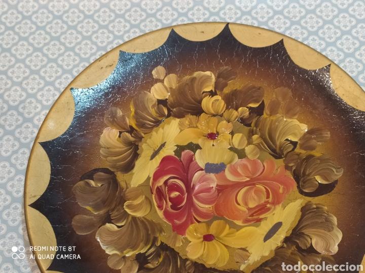 Antigüedades: Increíble plato de cerámica pintado a mano siglo XIX - Foto 4 - 219623500