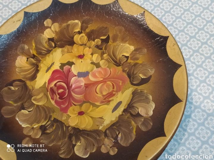 Antigüedades: Increíble plato de cerámica pintado a mano siglo XIX - Foto 5 - 219623500