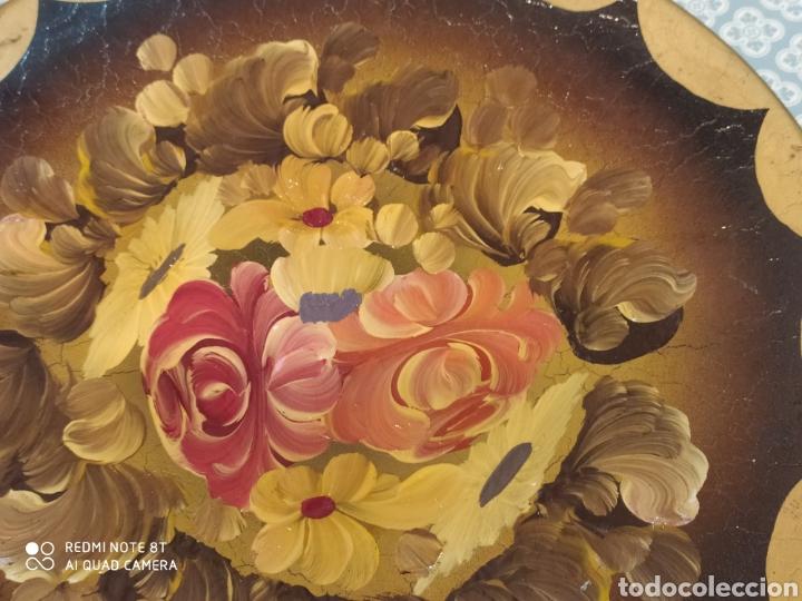 Antigüedades: Increíble plato de cerámica pintado a mano siglo XIX - Foto 6 - 219623500
