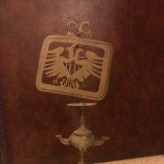 Antigüedades: ANTIGUA LAMPARA QUINQUE O CANDIL TIPO CAPUCHINA DE LATON. NO ELECTRIFICADA. Lote 219668868