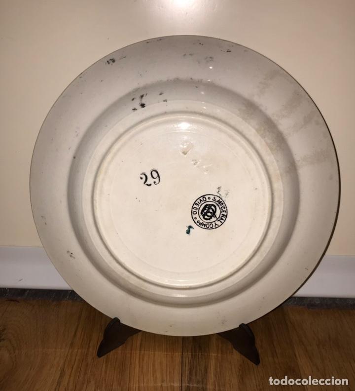 Antigüedades: PLATO PORCELANA ASTURIANA SENEN MARIA CEÑAL Y COMPAÑIA (OVIEDO) 1901 - 1920 (SAN CLAUDIO) - Foto 2 - 219716540