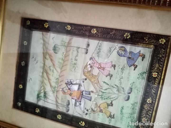 Antigüedades: pareja cuadros antiguos orientales pintados en seda - Foto 2 - 219732296