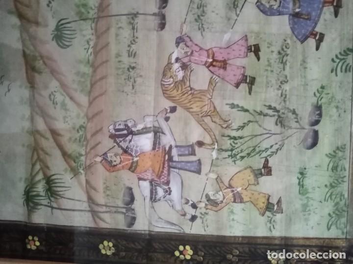 Antigüedades: pareja cuadros antiguos orientales pintados en seda - Foto 4 - 219732296