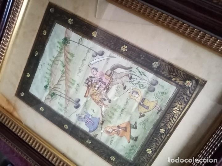 Antigüedades: pareja cuadros antiguos orientales pintados en seda - Foto 5 - 219732296