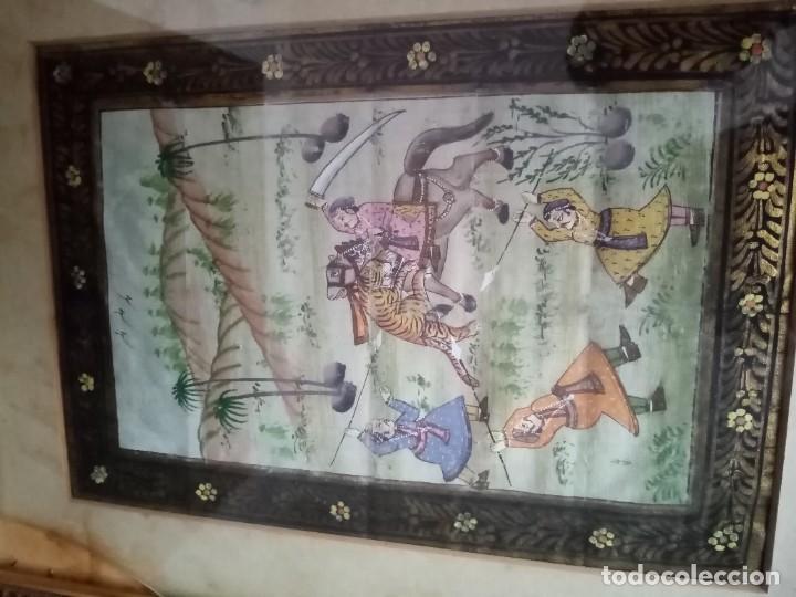Antigüedades: pareja cuadros antiguos orientales pintados en seda - Foto 6 - 219732296