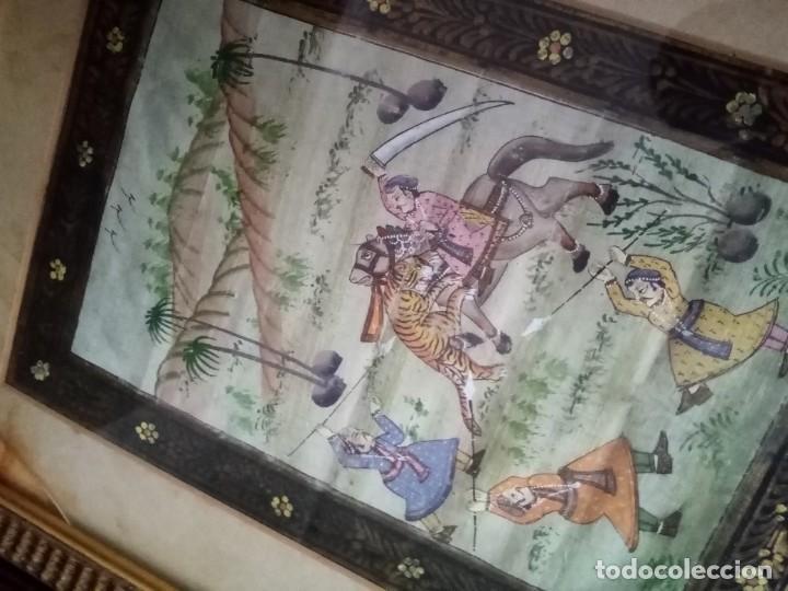 Antigüedades: pareja cuadros antiguos orientales pintados en seda - Foto 7 - 219732296