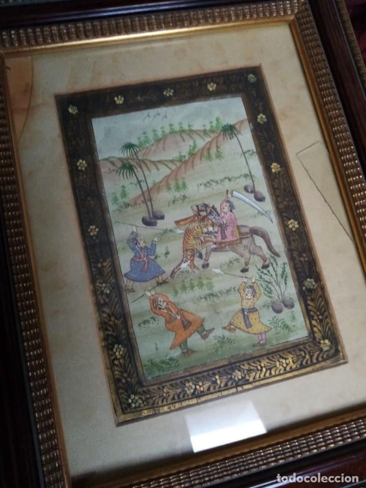 Antigüedades: pareja cuadros antiguos orientales pintados en seda - Foto 8 - 219732296