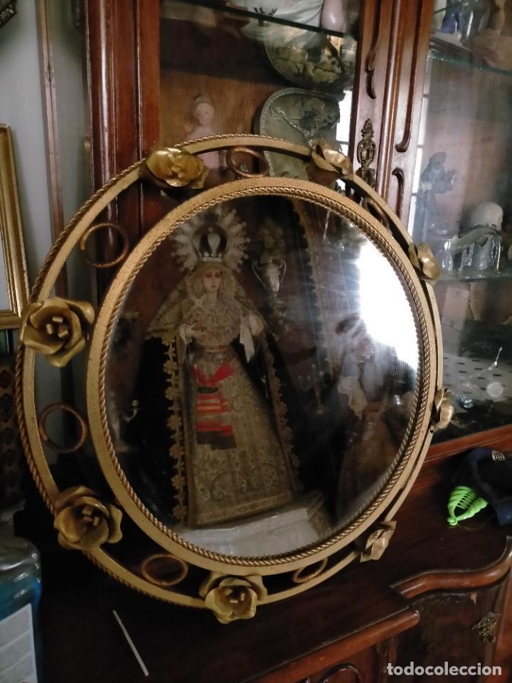 ESPEJO METALICO DORADO TIPO SOL REDONDO HOJAS VINTAGE RETROILUMINADO AÑOS 60 70 (Antigüedades - Muebles Antiguos - Espejos Antiguos)