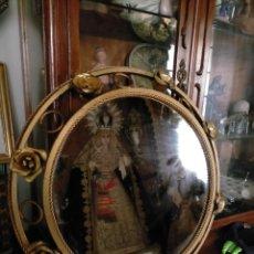 Antigüedades: ESPEJO METALICO DORADO TIPO SOL REDONDO HOJAS VINTAGE RETROILUMINADO AÑOS 60 70. Lote 219735172