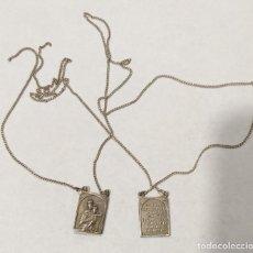 Antigüedades: ESCAPULARIOS DE PLATA VIRGEN DEL CARMEN CON CADENA. Lote 219843375