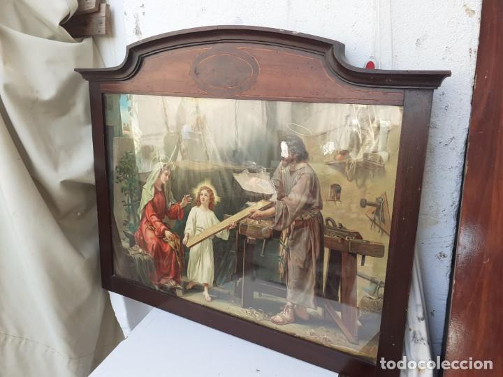 MARCO ANTIGUO CON LAMINA RELIGIOSA (Antigüedades - Hogar y Decoración - Marcos Antiguos)