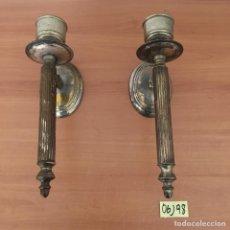 Antigüedades: ANTIGUOS CANDELABROS DE ALPACA. Lote 219885502
