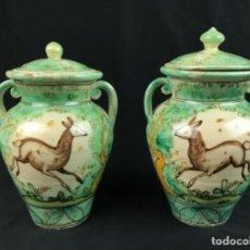 Antiquités: CONSERVADA PAREJA DE ORZAS DE CERÁMICA DE PUENTE DEL ARZOBISPO. FIN SG XIX PRIN.XX. Lote 219887625