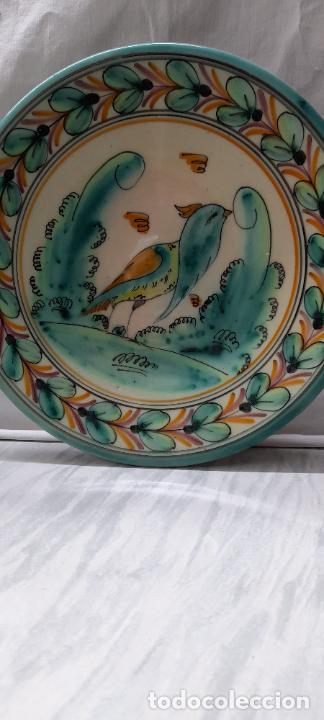 Antigüedades: plato para colgar - ceramica Puente del Arzobispo -- firmado PUENTE J.A - 24cm - Foto 7 - 219986132
