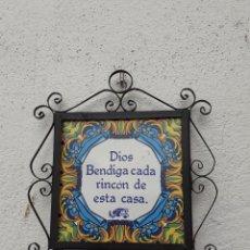 Antigüedades: AZULEJO CON HIERRO DE FORJA. Lote 219990480