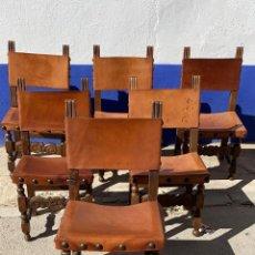 Antiquités: SILLERIA CASTELLANA REPUJADA SILLAS FUERTES Y SOLIDAS ASIENTO Y RESPALDO DE CUERO VER DESCRIPCION. Lote 219999197