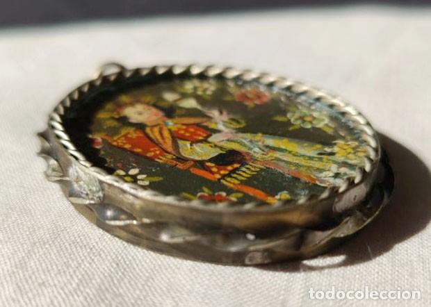 Antigüedades: MEDALLÓN DE VIRGEN CON NIÑO Y SANTO. ESCUELA DE CUZCO O CUSCO. ÓLEO. PRINC. S. XX - Foto 6 - 220060430