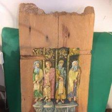 Antigüedades: TABLA PINTADA MOISES Y LOS PROFETAS MAYORES JEREMÍAS,ISAIAS Y DANIEL.AÑO 1965. Lote 220094465