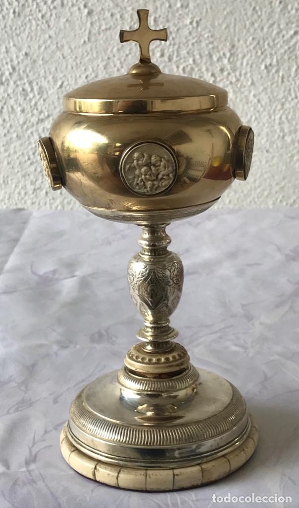 IMPORTANTE COPON O CALIZ DE PLATA Y MARFIL PRINCIPIOS DEL S.XIX. VER FOTOS ANEXAS. (Antigüedades - Religiosas - Orfebrería Antigua)