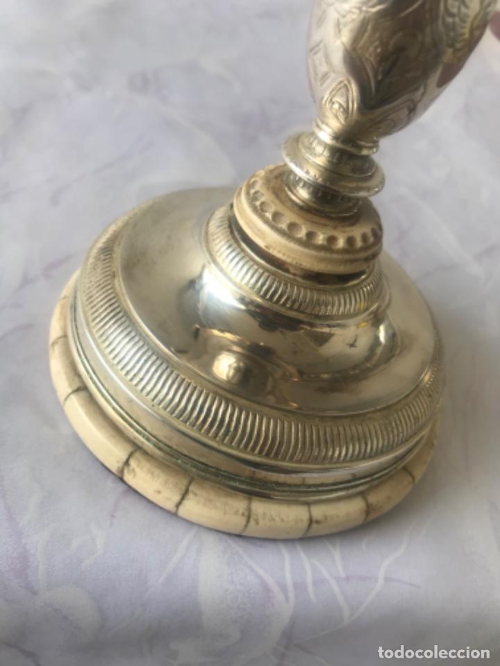 Antigüedades: IMPORTANTE COPON O CALIZ DE PLATA Y MARFIL PRINCIPIOS DEL S.XIX. VER FOTOS ANEXAS. - Foto 5 - 220191346