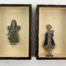 Antigüedades: PAREJA DE IMAGENES DE METAL PINTADO. S.XIX. ENMARCADAS.. Lote 220270672