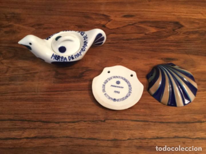 PALOMA SARGADELOS HERBA DE ENAMORAR DE SAN ANDRES DE TEIXIDO Y CONCHA PELEGRINO COMPOSTELA GALICIA (Antigüedades - Porcelanas y Cerámicas - Sargadelos)