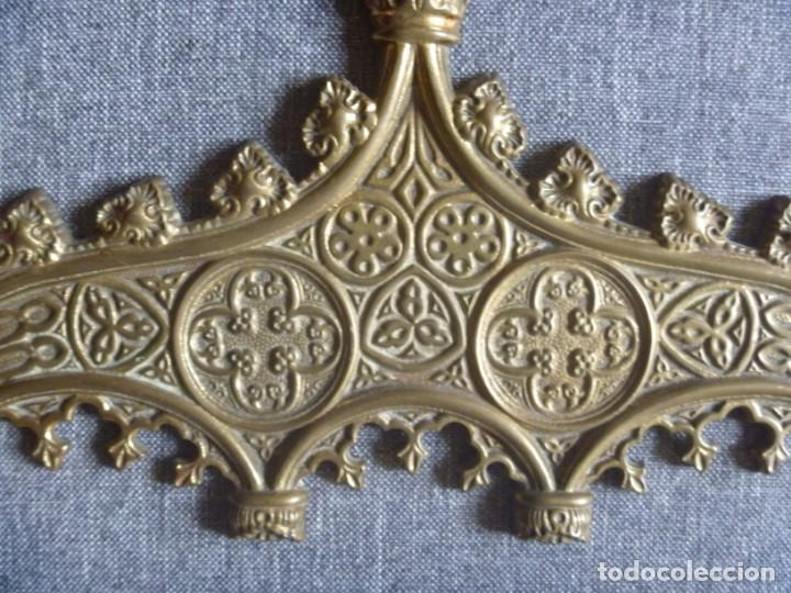 Antigüedades: ANTIGUA SACRA DOBLE DE BRONCE ESTILO GÓTICO OPORTUNIDAD - Foto 4 - 220462913