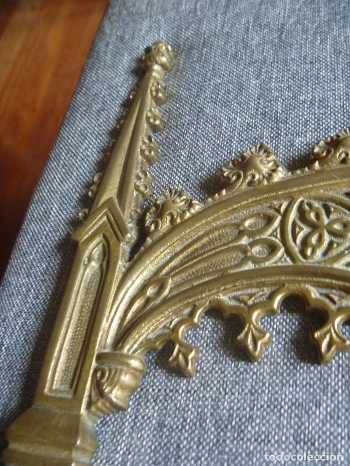 Antigüedades: ANTIGUA SACRA DOBLE DE BRONCE ESTILO GÓTICO OPORTUNIDAD - Foto 5 - 220462913