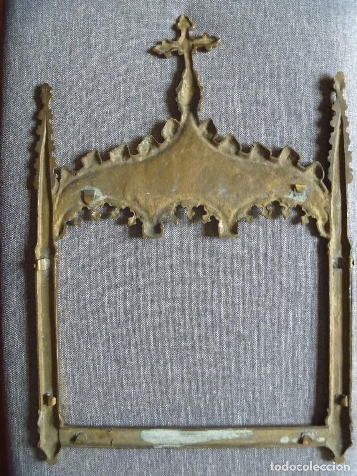Antigüedades: ANTIGUA SACRA DOBLE DE BRONCE ESTILO GÓTICO OPORTUNIDAD - Foto 8 - 220462913