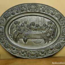 Antigüedades: ANTIGUO PLATO DE ZING - LA SAGRADA CENA. Lote 220468932