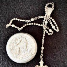 Antigüedades: ROSARIO CON CAJA DE LOURDES SIGLO XIX PLATEADO. Lote 220487970