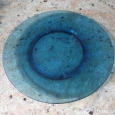 Oggetti Antichi: ANTIGUOS 6 PLATOS DE CRISTAL VERECO EN AZUL,LLANOS. Lote 272161753