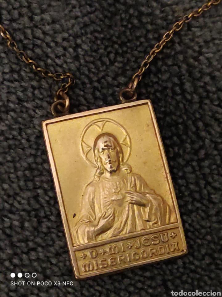 Antigüedades: Escapulario doble, Regina Sacri y Jesu misericordia - Foto 2 - 220534458