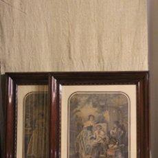 Antigüedades: PAREJA DE GRABADOS ANTIGUOS ENMARCADOS MARCO DE CAOBA. Lote 220559387