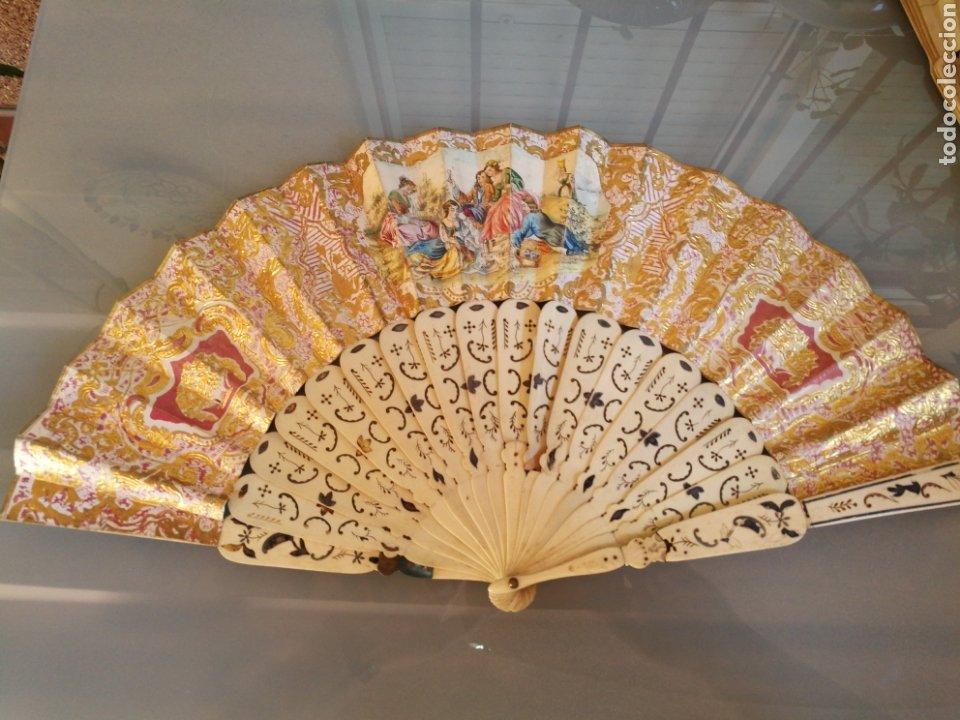 ABANIDO DE MARFIL Y PAPEL. 50X28 CM (Antigüedades - Moda - Abanicos Antiguos)