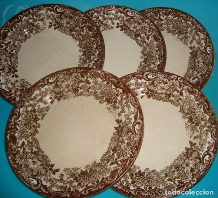 LOTE DE 5 PLATOS DE LOZA PICKMAN MARRÓN 202, 17CM (Antigüedades - Porcelanas y Cerámicas - La Cartuja Pickman)