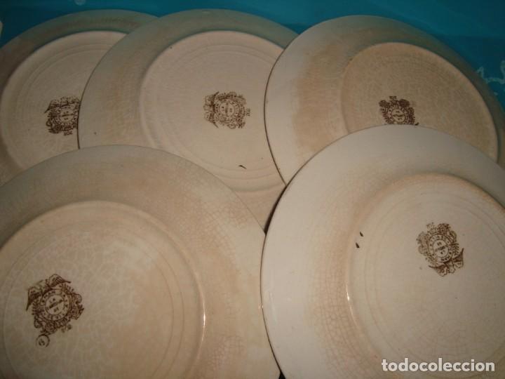Antigüedades: LOTE DE 5 PLATOS DE LOZA PICKMAN MARRÓN 202, 17cm - Foto 3 - 220596325