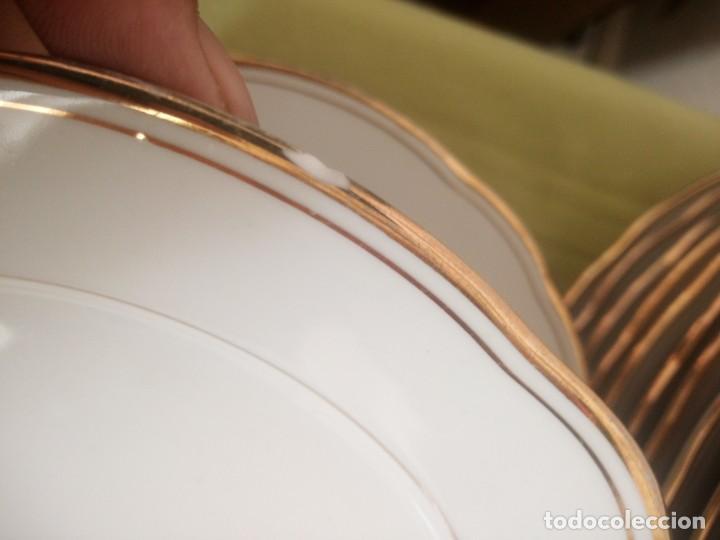 Antigüedades: Elegante vajilla de porcelana kahla,blanca con filo de oro,años 50. 40 piezas - Foto 14 - 241879685