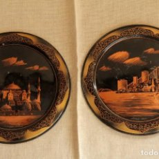 Antigüedades: PAREJA DE PLATOS DE COBRE CON GRABADOS, TURQUIA, 21,5CM DE DIAMETRO. Lote 220670093