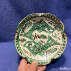 Antiquités: CENTRO MESA CERAMICA TERUEL PECES ESTILO MEDIEVAL PUNTER 42 6X20CMS. Lote 220712735