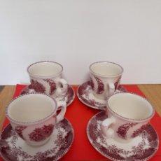 Antigüedades: TAZAS DE CAFE DE PORCELANA LA CARTUJA DE SEVILLA PICKMAN SERIE ROSA. Lote 220715646