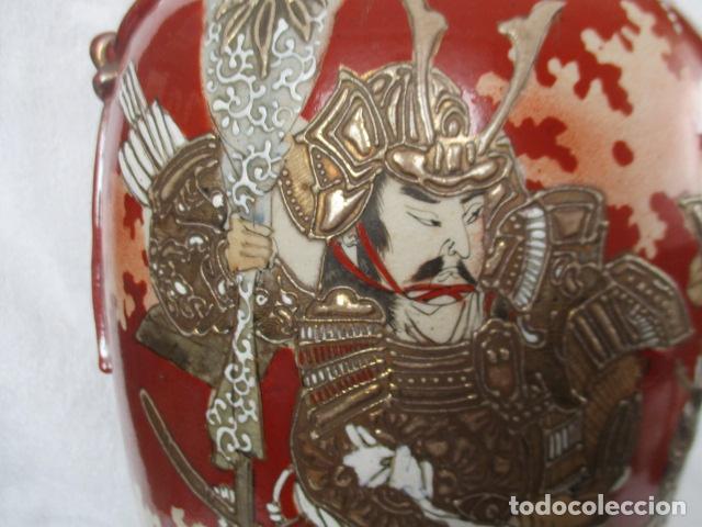 Antigüedades: ESPECTACULAR Y ANTIGUO JARRÓN ORIENTAL DE CERÁMICA - JAPÓN - PINTADO A MANO, FIRMADO / SAMURAIS - Foto 6 - 220761598