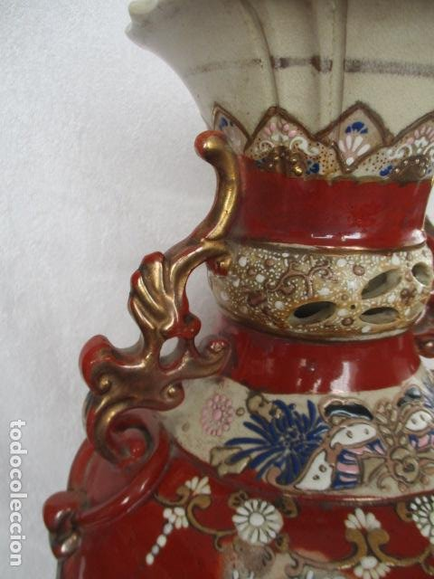 Antigüedades: ESPECTACULAR Y ANTIGUO JARRÓN ORIENTAL DE CERÁMICA - JAPÓN - PINTADO A MANO, FIRMADO / SAMURAIS - Foto 10 - 220761598