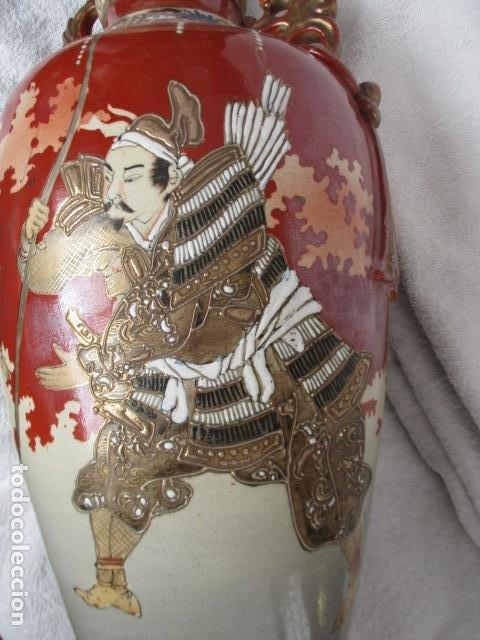 Antigüedades: ESPECTACULAR Y ANTIGUO JARRÓN ORIENTAL DE CERÁMICA / SAMURAIS - JAPÓN - PINTADO A MANO, FIRMADO - Foto 32 - 220761598