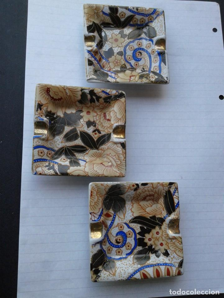 TRES CENICEROS EGIPCIOS DE PORCELANA (Antigüedades - Hogar y Decoración - Ceniceros Antiguos)