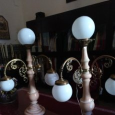 Antigüedades: PAREJA LÁMPARAS MODERNISTAS. ALABASTRO, BRONCE, LATÓN. Lote 220790458